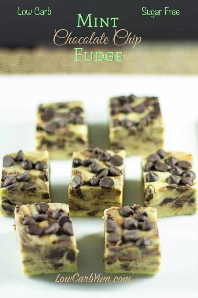 Low carb mint chocolate chip fudge via Low Carb Yum