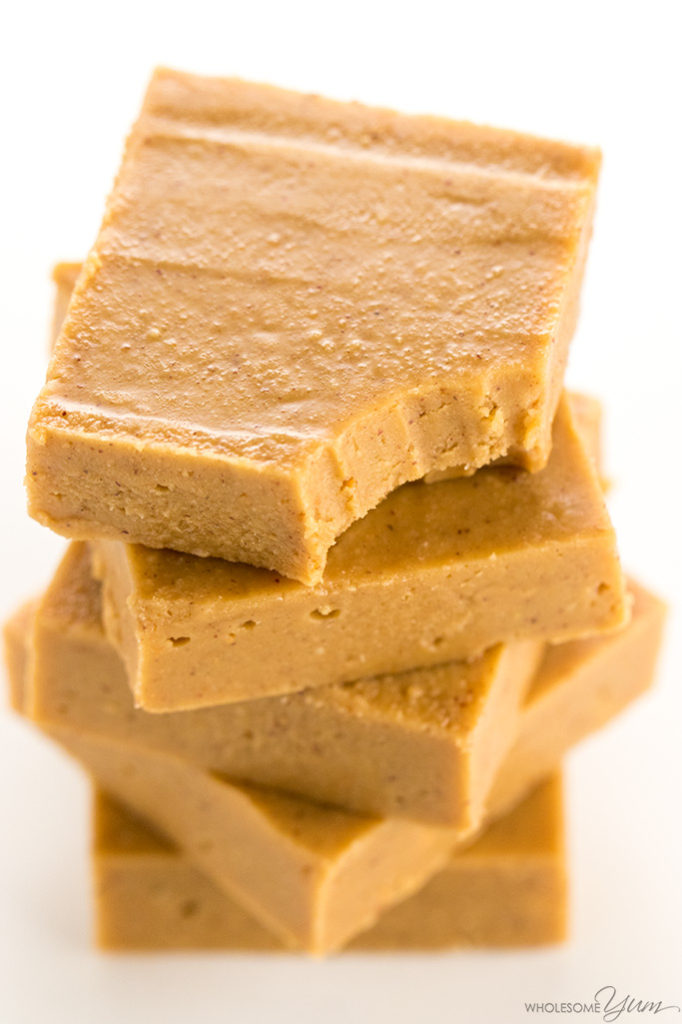 Sugar-free keto low carb peanut butter fudge via Wholesome Yum