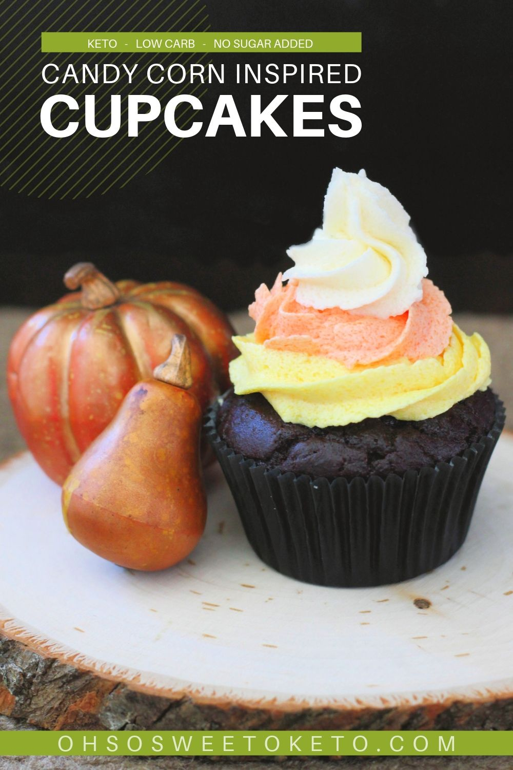 Candy Corn Inspired Cupcakes - Chocolate with Buttercream Frosting {Keto, Low-Carb}