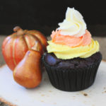Candy Corn Inspired Cupcakes – Chocolate with Buttercream Frosting {Keto, Low-Carb}