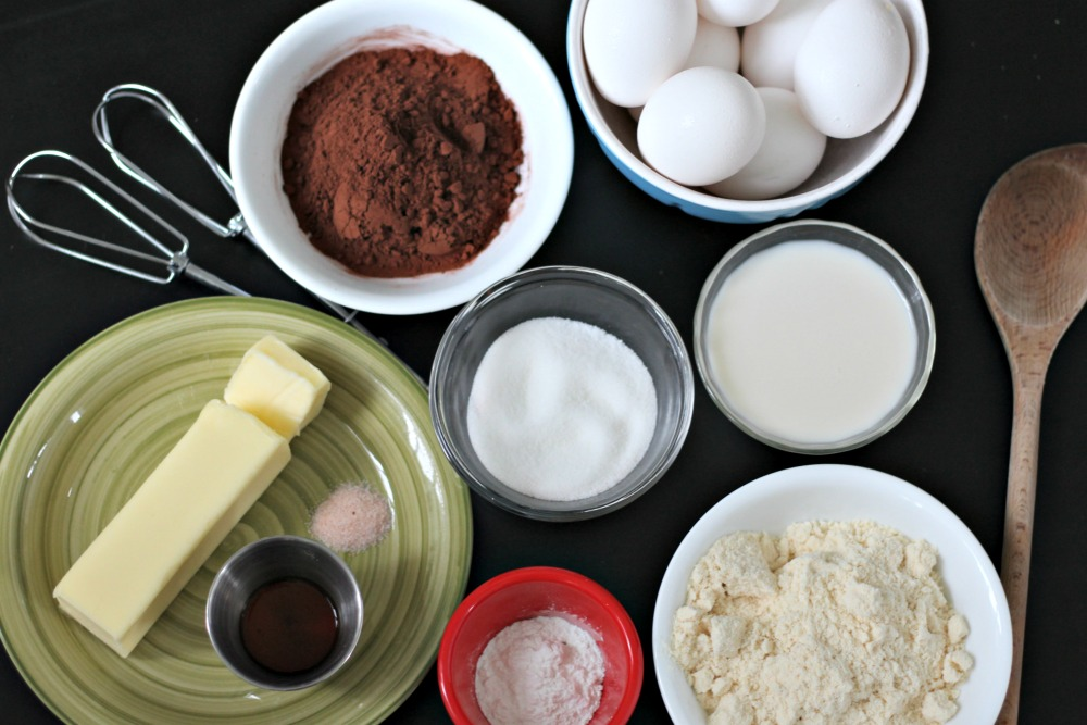 Ingredients for keto chocolate cupcakes