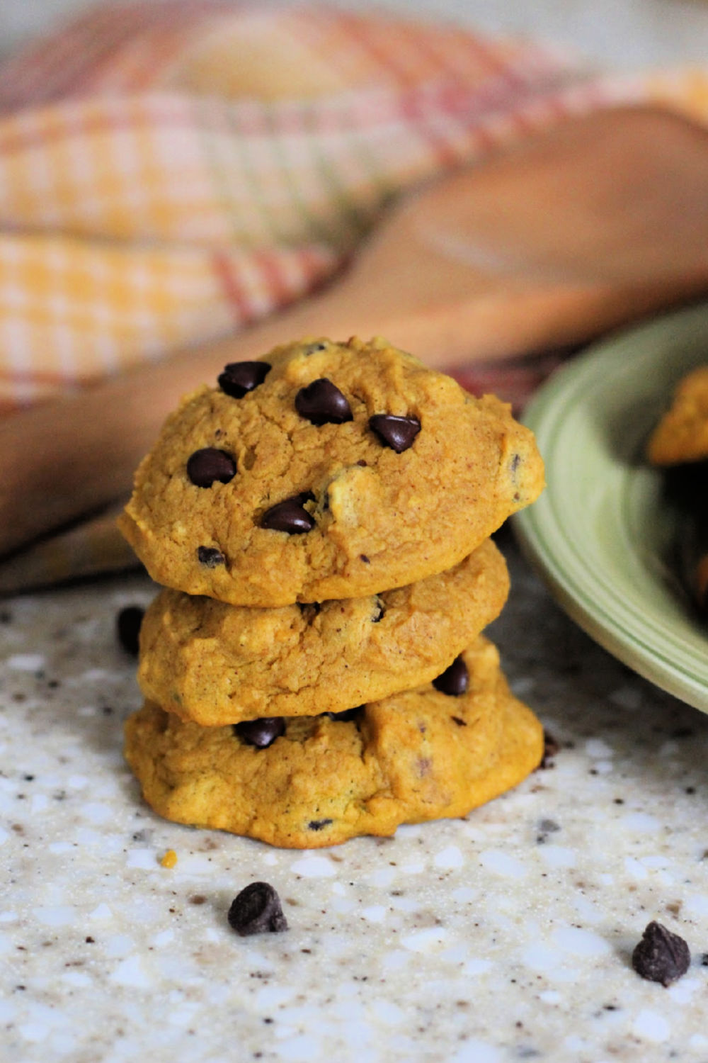 3 Pumpkin cookies with chocolate chips and walnuts