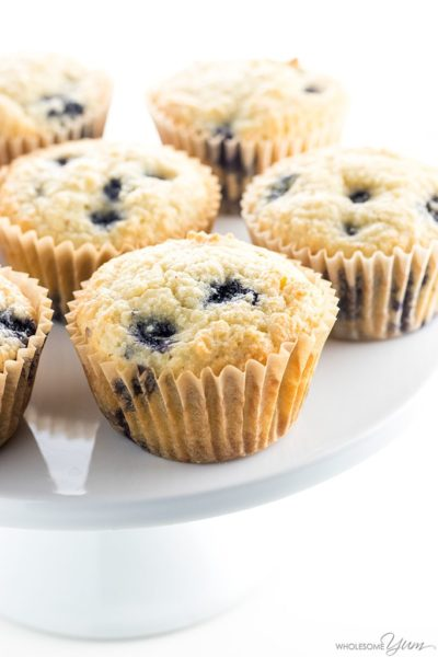 Low Carb Blueberry Muffins made with almond flour. Perfect for a low carb, paleo, or keto diet!