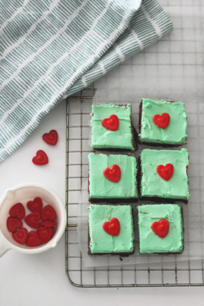 Keto Chocolate Mint Fudge topped with hearts for Valentine's Day!